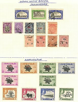 India States Stamp Collection On Loose Album Page Inc Travancore (Ref: C457)