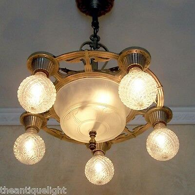 632 Vintage 20s 30's Ceiling Light Lamp Fixture Chandelier Polychrome  Re-Wired
