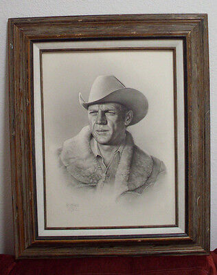 Original Pencil Art Drawing By Well Known Artist Romeo Lopez Of Steve Mcqueen