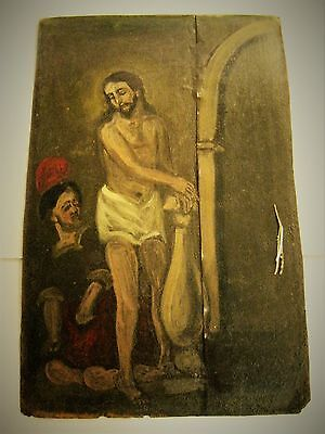 Antique /retablo On Tin With The Image Of Jesus And Roman Soldier At Flagelation