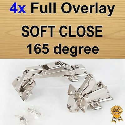 4x Door Kitchen Cabinet Cupboard Soft Close Full Overlay Hinges -165 degree
