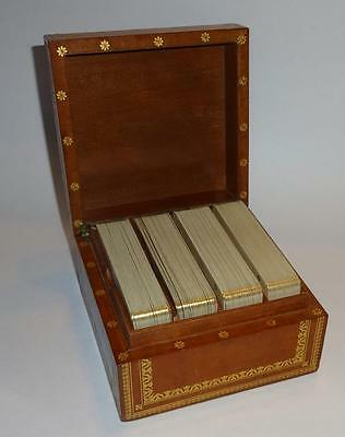 Vintage Italian Gold Gilt Playing Cards and 4 Deck Leather Wood Box
