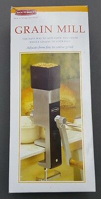 Grain Mill Hand Crank Manual Back To Basics Adjusts from Fine - Coarse Grind 555
