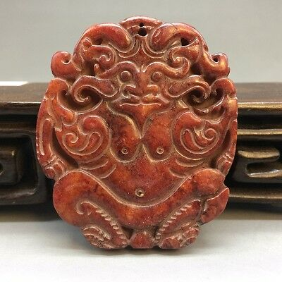 Chinese ancient jade pure manual fine carving beast pendant