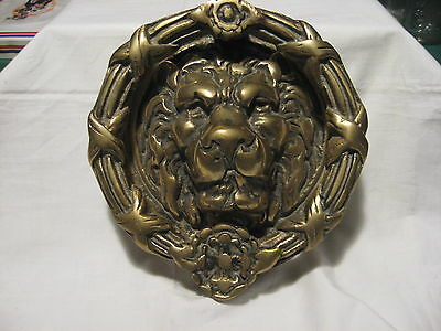 "Vintage Antique LARGE 8"" Round Heavy Brass Lion Head Door Knocker"