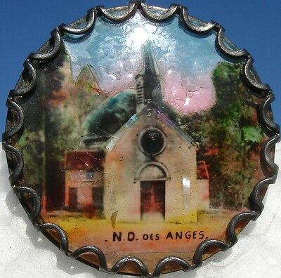 """1940s FRENCH METAL marked """"N.D. des ANGES"""" HAND PAINTED CHURCH~ANTIQUE BUTTON"""
