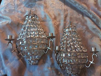 Vintage  Crystal And Chrome Bag Candle Wall Sconces