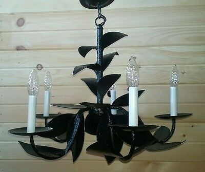 Vintage Leaf Pedal Chandelier Cast Aluminum 5 Tier Light Large Ceiling Fixture