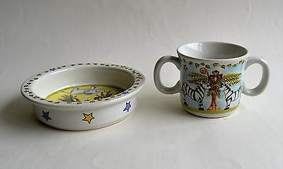 2 Piece  Kids  Set  Bowl Mug Mes Amis by Artist Heather Outlaw for Essex Kids