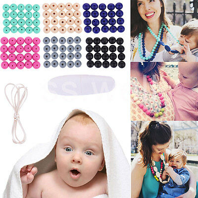 Chain Baby Silicone Teething BPA Free Necklace Cute Nursing Teether Round Beads