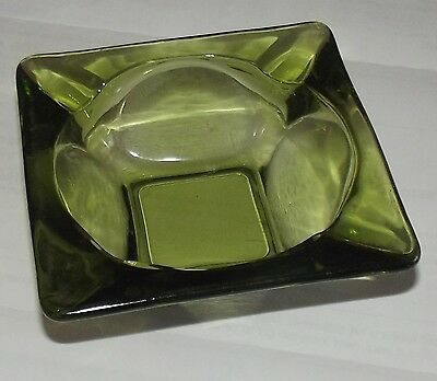 Collectible Green Glass Ashtray Hipster 1970s