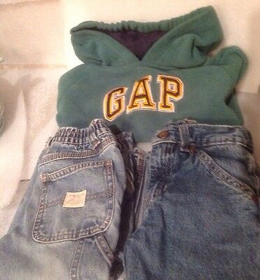 LOT OF 3 ~ BOYS CLOTHING SIZE 3T ~ Gap Hooded Sweatshirt, 2 Pairs Jeans