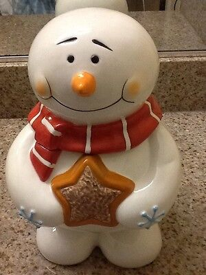 BELK Holiday Home Accents Ceramic Snowman Cookie Jar Free Shipping