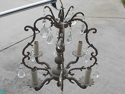 Fine Old 4 Light Vintage French style Crystal Empire Chandelier