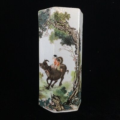 China's rich and colorful ceramics hand-painted children & cow. Brush pot