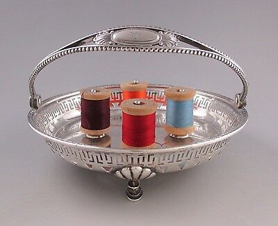 Rare TIFFANY & CO. Sterling Silver Sewing Basket with Spool Holders Circa 1870
