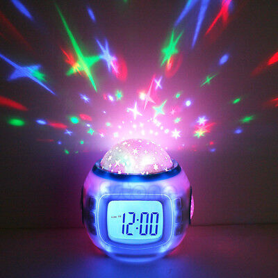 Baby Children Alarm Clock Room Sky Star Night Light  Music Projector Lamp Bedroo