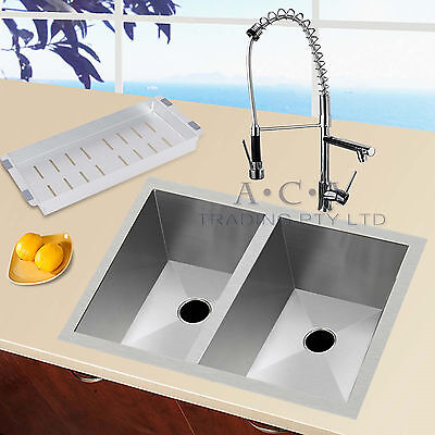 Stainless Steel Double Bowls Sink + Kitchen Spout Swivel Faucet Vanity Mixer Tap