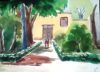 Early 20th Century  Contemporary Water Color Painting -  Tree And House