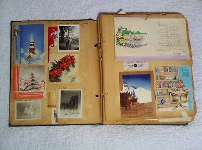 Vintage 1940 - 50's Scrapbook Christmas Easter Cards Postcards Letters Pictures