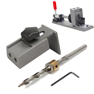 Pocket Hole Jig Drilling Position System Kit W/ Step Drill Bit Woodworking Tool