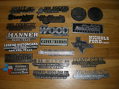 TEXAS Plastic Car Dealer EMBLEM - lot of 20
