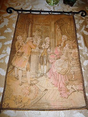 French Tapestry of Gathering w/Gold Wire Border