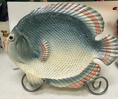 "Fitz & Floyd Fish Market Large 16"" Fabulous Fish Platter for Seafood Dining"