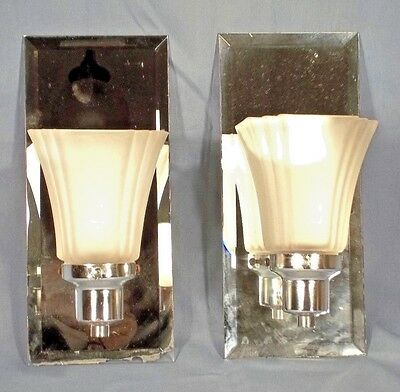 Pair Of Modern Style Mirror Back Chrome Sconces With Frosted Glass Shades