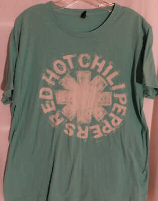 Red Hot Chili Peppers Men's Tee Shirt Size L Green with Logo EUC