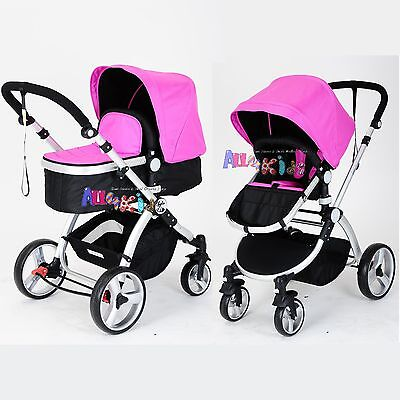 Joy Baby 2 in 1 Pram Stroller Jogger with Bassinet and Accessories - Pink