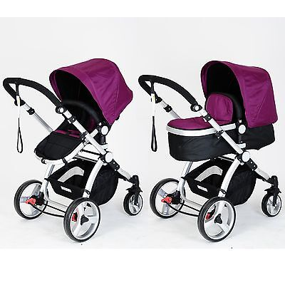 Joy Baby 2 in 1 Pram Stroller Jogger with Bassinet and Accessories - Purple