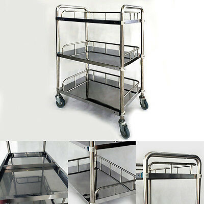 Fantastic 3 Layers Serving Medical Instrument Cart Trolley Stainless Steel FS945