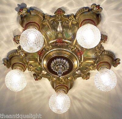 835 Vintage 20s 30s Ceiling Light  fixture art nouveau  chandelier 1 of 3