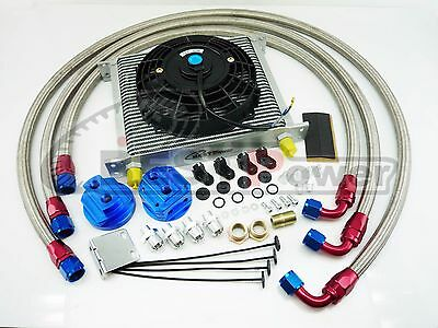 """Universal Silver 30 Row Transmission 10AN Oil Cooler + 7"""" Electric Fan Kit"""