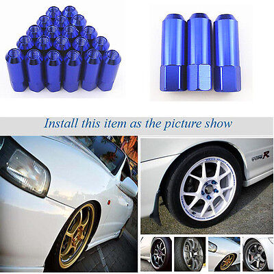 Blue 20 Pcs M12 x 1.5MM Open End Extended Aluminum Long Rim Tuner Wheel Lug Nuts