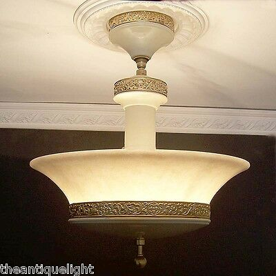 829 30s 40s Vintage Marble Glass CEILING LIGHT Lamp fixture shade chandelier
