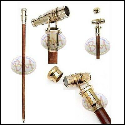 """Vintage 36"""" nautical style Walking Stick with Solid Brass foldable Telescope"""
