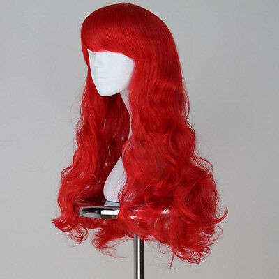 Sexy Long Curly Wavy Women's Mermaid Princess Ariel Cosplay Costume Red Hair Wig