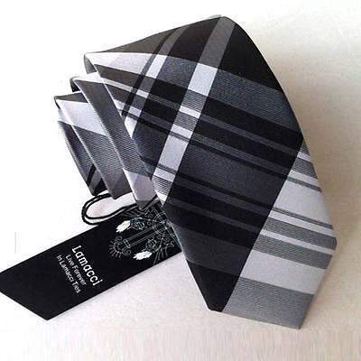 SJ010 SKINNY men 100% silk neck tie jacquard slim party ties black white stripes