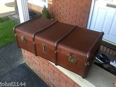 Antique Steamer Trunk Vintage Travel Chest Boarding School Trunk Shop Display