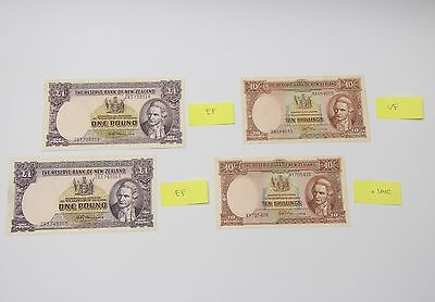 New Zealand PRE DECIMAL 10 Shillings and 1 pound NOTES, UNC to EF quality