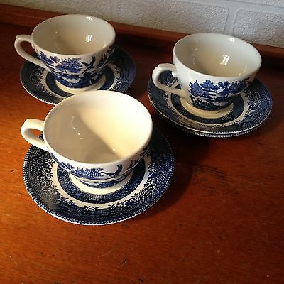 Set Of 3 Churchill blue willow cups and saucers
