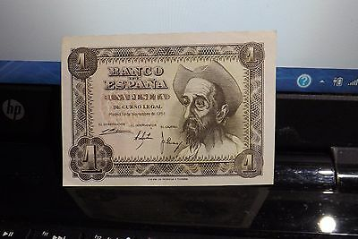 Spain 1951 1-Peseta Uncirculated Banknote As Pictured