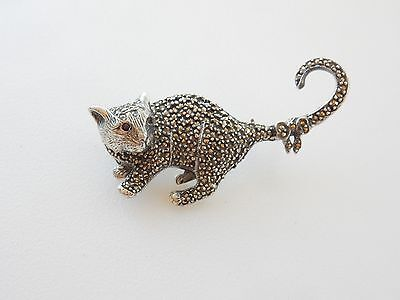 Solid SilverMarcasite Embossed Cat Wearing Bow Brooch Hallmarked