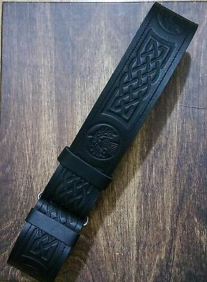 Celtic Embossed Leather Kilt Belt Adjustable size for Kilts Highland Dress