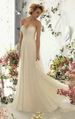 Stock Beach White Ivory A-Line Wedding Dresses Bridal Gowns Size 6 8 10 12 14 16