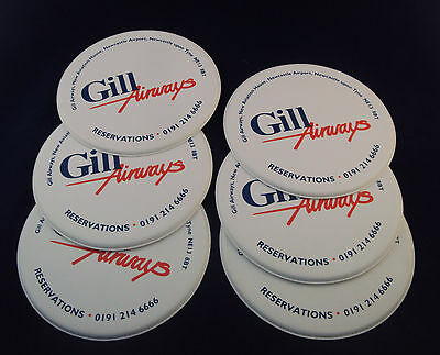 Collection Of 6 Gill Airways Advertising Drinks Coasters- Newcastle Interest