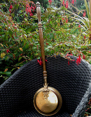 EARLY 1900s BRASS WARMING PAN-SMALLER SIZE-TURNED HANDLE