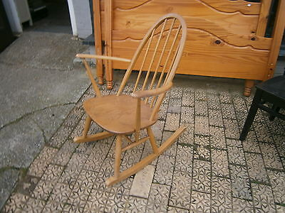Vintage Ercol Rocking Chair Early Blue Label Nice Sized Nursing Chair / Rocking